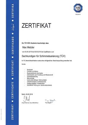 TÜV Zertifikat Metzler