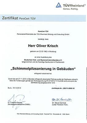 TÜV Zertifikat Schimmelpilzsanierung Gebaeude